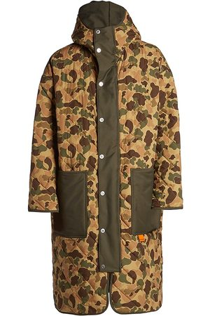 Palm Angels Men Parkas - Quilted Camouflage Parka