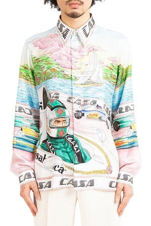 Casablanca Men Shirts - Grand Prix The Art Of Racing Silk Twill Shirt