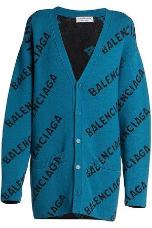 Balenciaga Women Cardigans - Oversized Logo Cardigan