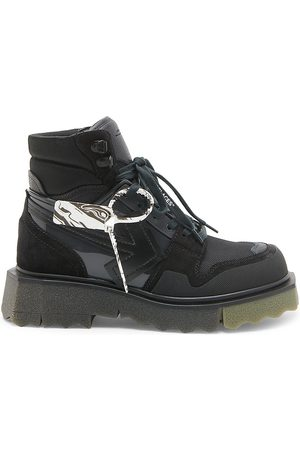 Off-White Men Outdoor Shoes - Hiking Sneaker Suede-Trimmed Boots