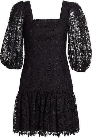 Ml Monique Lhuillier Puff Sleeve Lace Mini Dress