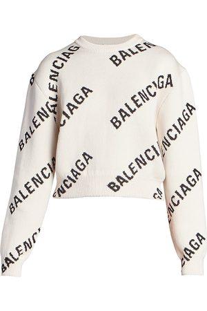 Balenciaga Logo Intarsia Crop Sweater