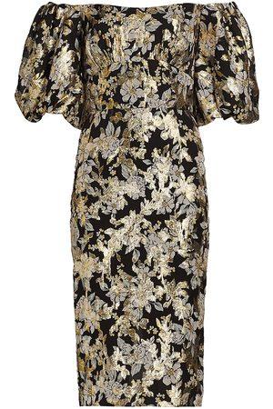 ML Monique Lhuillier Floral Metallic Midi Dress