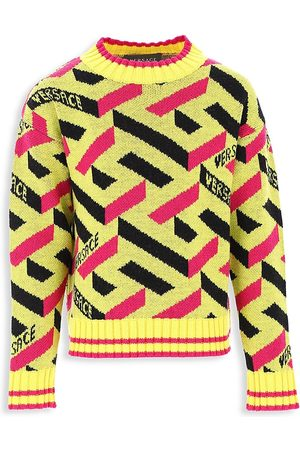 Versace Sweatshirts - Little Kid's & Kid's La Greca Jacquard Wool Sweater