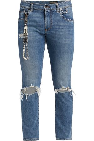 DOLCE & GABBANA Embellished Ripped Skinny Jeans