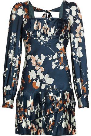 ML Monique Lhuillier Women Printed Dresses - Floral Satin Pleated Minidress