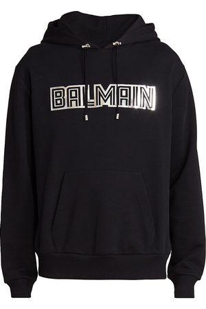 Balmain Metallic Embossed Logo Hoodie