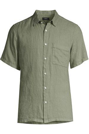 Theory Men Short sleeves - Linen Short-Sleeve Button-Down Shirt