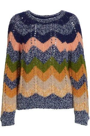 Mother Chevron Open-Knit Sweater