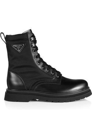 Prada Brushed Leather & Nylon Combat Boots