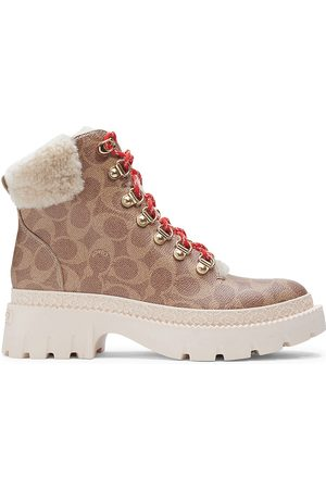 Coach Janel Signature Coated Canvas Hiking Boots