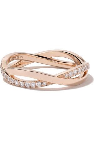 De Beers Jewellers 18kt rose Infinity half pave diamond band