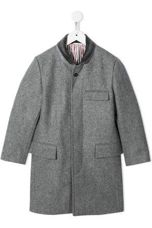 Thom Browne Kids Chesterfield Melton wool coat - Grey