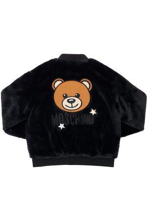 MOSCHINO Logo Patch Faux Fur Jacket