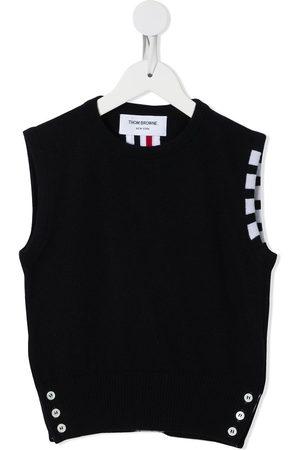 Thom Browne Kids Sleeveless crew neck 4-Bar vest