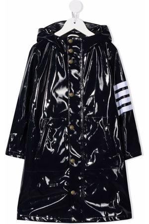 Thom Browne Boys Rainwear - 4-Bar long hooded rain coat