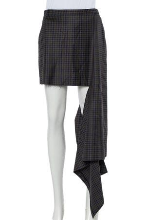 Balenciaga Checkered Wool Asymmetrical Hem Skirt S