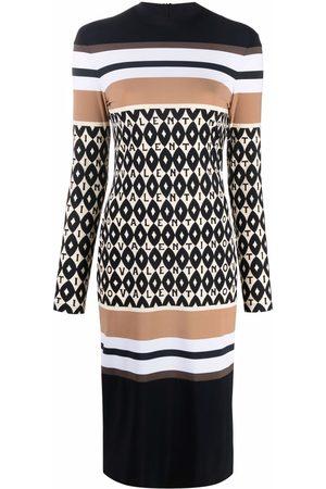 VALENTINO Logo-pattern striped dress