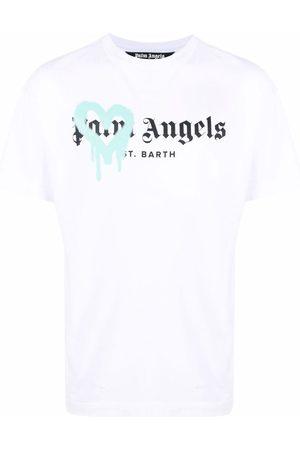 Palm Angels Men T-shirts - Sprayed heart logo T-shirt