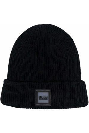 BOSS Kidswear Ribbed-knit logo beanie