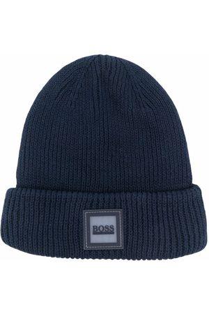 HUGO BOSS Ribbed-knit logo beanie