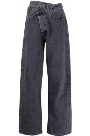 R13 Asymmetric-waist wide-leg jeans