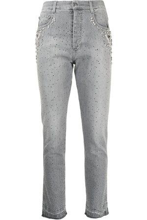 Ermanno Scervino Crystal-embellished slim-fit jeans - Grey