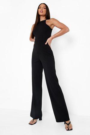 Boohoo Womens Tall High Neck Strap Wide Leg Jumpsuit - - 2