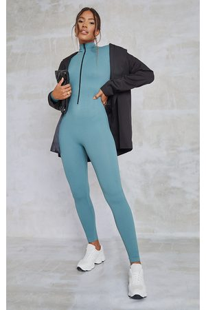 PrettyLittleThing Teal Structured Contour Rib Zip Jumpsuit