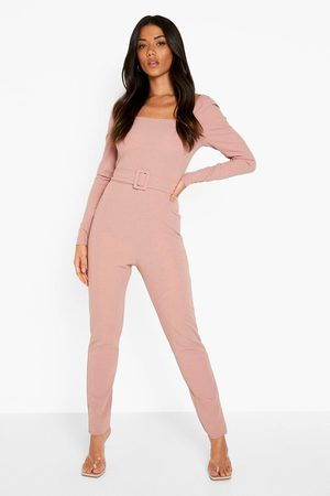 Boohoo Womens Puff Sleeve Tailored Belted Jumpsuit - - 4