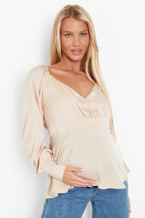 Boohoo Womens Maternity Wrap Front Smock Top - - 4