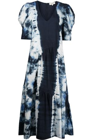 SEA Women Printed Dresses - Tie-dye print puff-sleeve dress