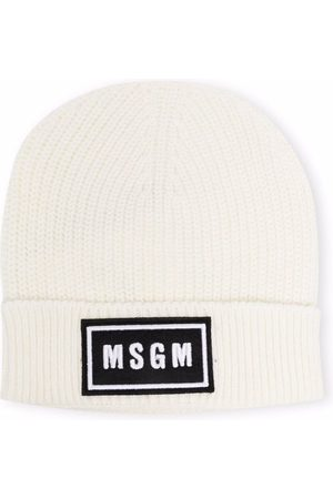 MSGM Kids Logo patch beanie hat - Neutrals
