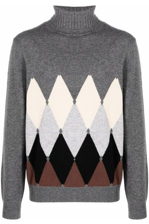 Ballantyne Argyle-print roll-neck jumper - Grey
