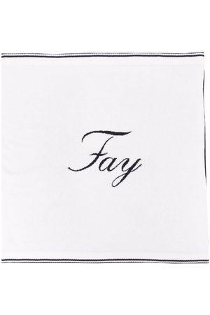 Fay Kids Logo-knit sleeping nest blanket - Neutrals