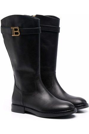 Balmain Kids Knee-high leather boots