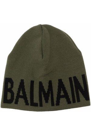 Balmain Kids Intarsia-knit virgin-wool beanie