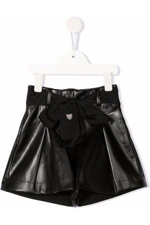 Monnalisa Metallic bow-embellished shorts