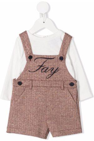 Fay Kids Chevron-knit dungarees set - Neutrals