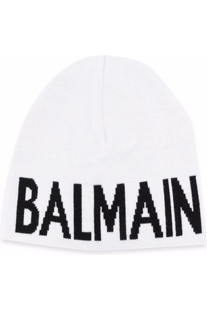 Balmain Kids Logo intarsia beanie