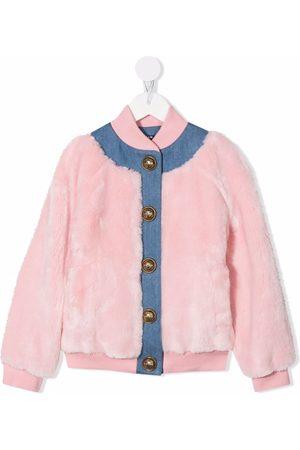 Balmain Kids Faux-fur two-tone bomber jacket