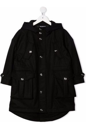 Balmain Kids Hooded multi-pocket coat