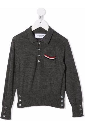 Thom Browne Kids RWB stripe-detail polo shirt - Grey