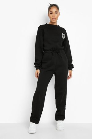 Boohoo Womens Seam Detail Embroidered Sweat Jumpsuit - - 4