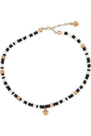 Versace Men Necklaces - White & Black Beaded Medusa Necklace