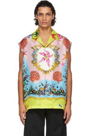 VERSACE Men Shirts - Multicolor Silk Trésor De La Mer Sleeveless Shirt