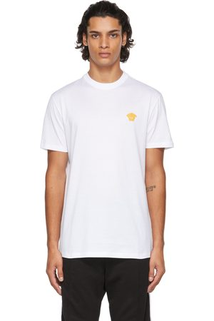 VERSACE Men T-shirts - White Embroidered Medusa T-Shirt