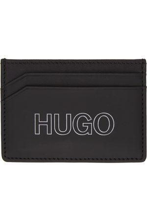 Hugo Black Leather Outline Logo Card Holder