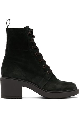 Gianvito Rossi Navy Suede Foster Lace-Up Boots