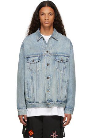 Balenciaga Men Denim Jackets - Blue Denim Large Fit Jacket